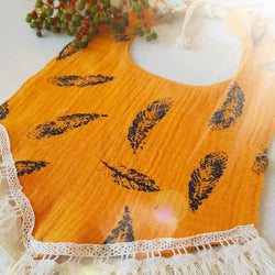 Autumn Feather Tassel Dribble Bib
