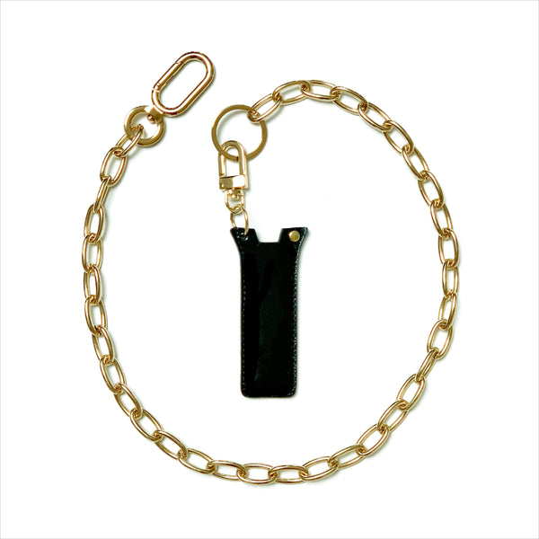 gold necklace chain accessory with leather case fit for juul or pax era