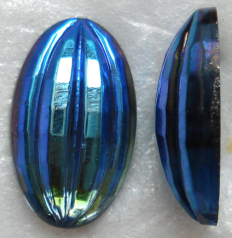 Glass Oval Specialty Ribbed Cabochons