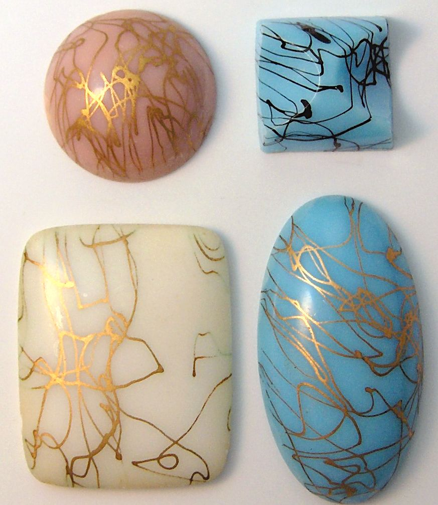 Glass Gold or Black Drizzle Specialty Stones