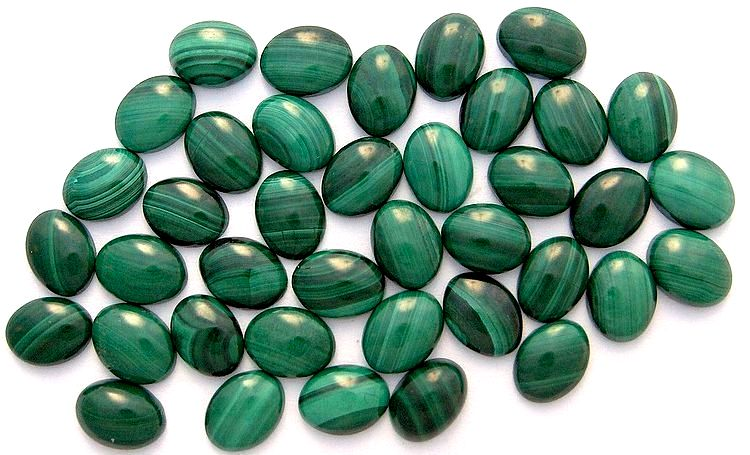 8x6mm Natural Malachite Oval Cabochons