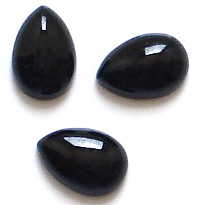 9x6mm Black Onyx Pear Shape Cabochons