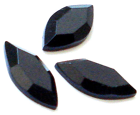 15x7mm Natural Black Onyx Rosecut Marquises