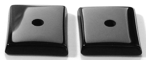 13x11mm Natural Black Onyx Buff-top w/2mm hole Cushion