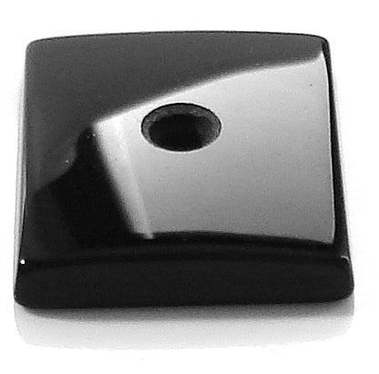 14x12mm Natural Black Onyx Buff-top w/2mm hole Cushion