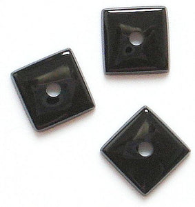 8mm  Black Onyx Buff top Square w/2mm hole