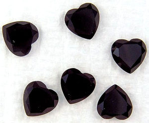 7mm Black Onyx Rosecut Heart Shapes