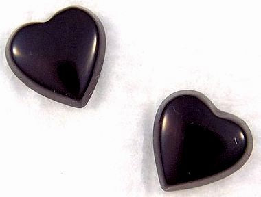 7mm Black Onyx Buff-top Heart Shapes