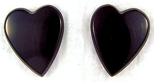 13x11mm Black Onyx Buff-top Heart Shapes