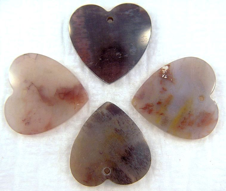 19mm Natural Jasper Heart Shapes w/ ring hole
