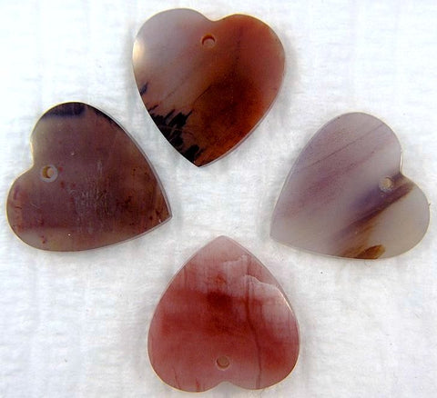 16mm Natural Jasper Heart Shapes w/ ring hole
