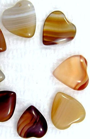 12mm Heart Shape Natural Agates