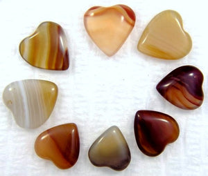 10mm Heart Shape Natural Agates