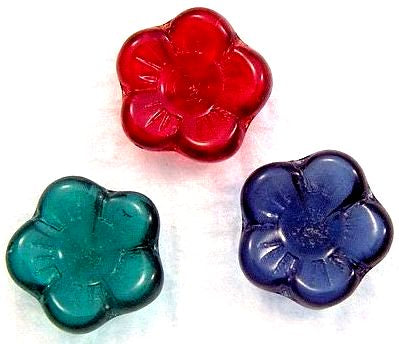 9mm 5 Petal Glass Flowers with rhinestone center