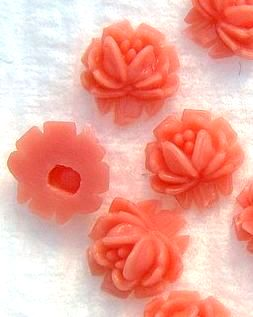 6.5mm Coral Color Flowers (plastic)