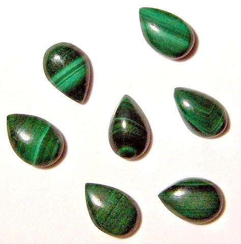 6x4mm Natural Malachite Pear Shape Cabochons
