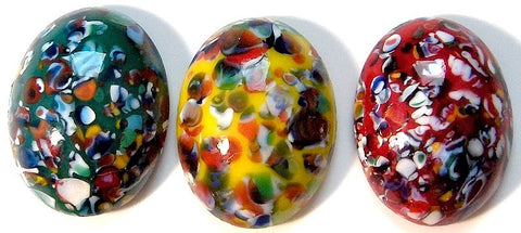 16x12mm (1685) Glass Mosaic Style Oval Cabochons