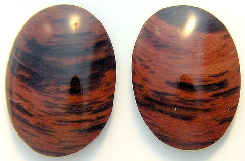 30x22mm Natural Mahogany Obsidian Oval Cabs