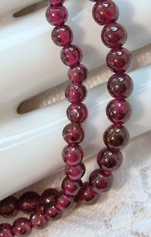 15 Inch Strand of 3mm Natural Garnet Beads