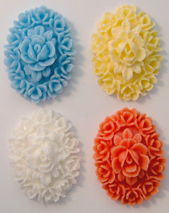25x18mm Molded Oriental Flowers (Plastic)