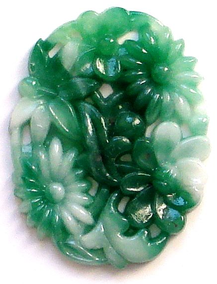 35x27mm Glass Oval Molded Flowers Jade/White