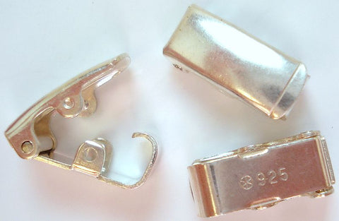 11.5mm x 5mm Sterling Silver 925 Fold Over Clasps