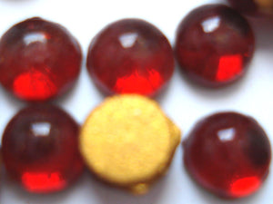 4.25-4.5mm (2194) GLASS ROUND SIAM CABOCHONS