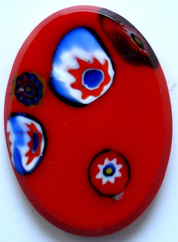 18x13mm BUFF TOP RED MOSAIC GLASS OVALS