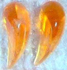 13MM GLASS FLAWED TOPAZ COMMA SHAPE CABS