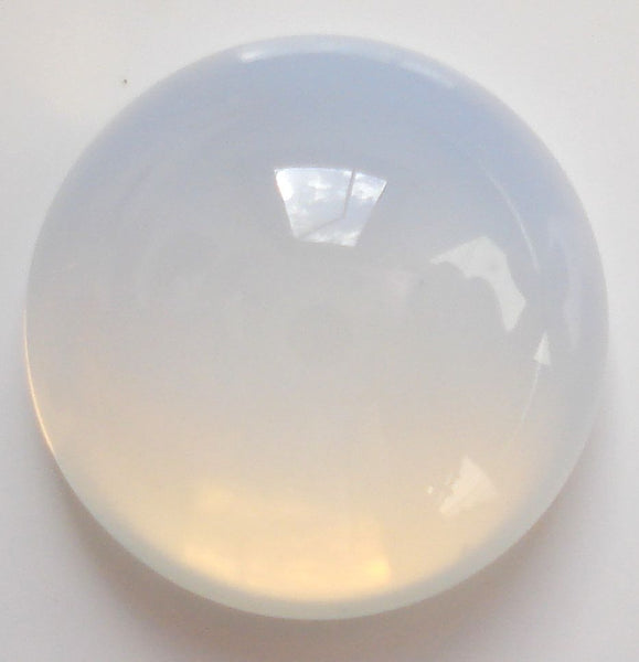 13MM (2194) ROUND (Unfoiled) GLASS WHITE OPAL CABS