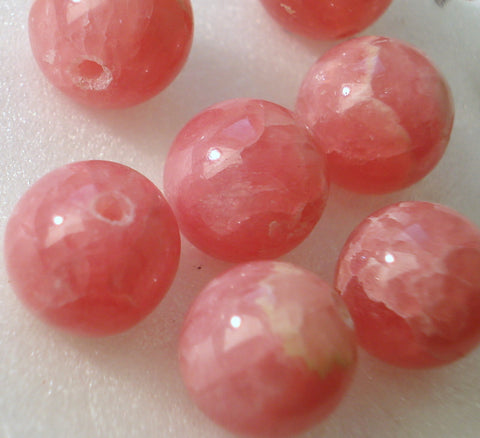 8MM FULLY DRILLED RHODOCROSITE BEADS