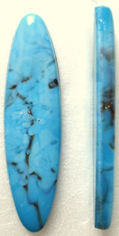 30X8MM GLASS TURQUOISE MATRIX OVAL BUFF TOP CABS