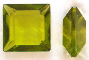 8MM OLIVINE COLOR CHANNELLE CUT SQUARES