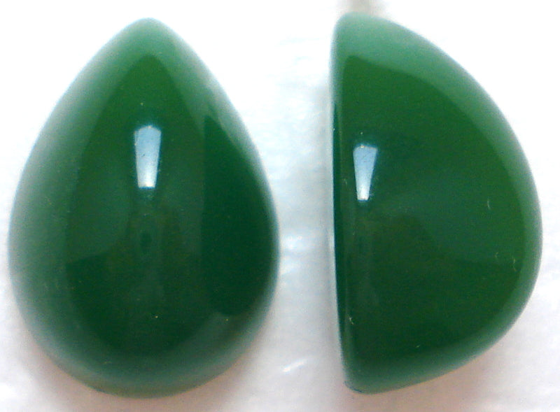 18X13MM ACRYLIC PEAR HIGH DOME JADE CABS