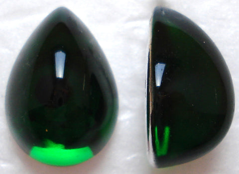18X13MM ACRYLIC PEAR HIGH DOME EMERALD CABS