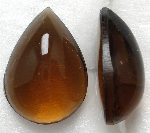 18X13MM PENDALOQUE BOMBE' CUT SMOKED TOPAZ CABS