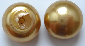 10MM IMITATION ROUND BUTTON TOP GOLD PEARLS