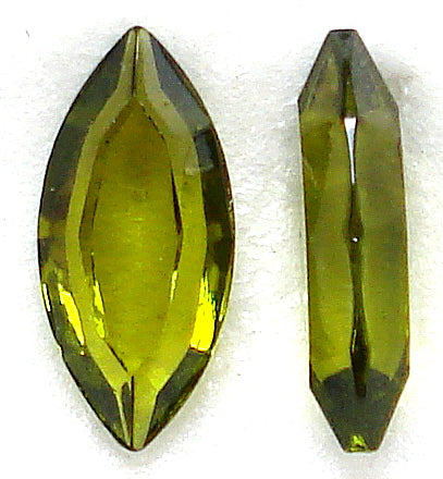 15X7MM OLIVINE COLOR CHANNELLE CUT MARQUISES