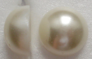 13MM WHITE IMITATION PEARL ROUND CABOCHONS