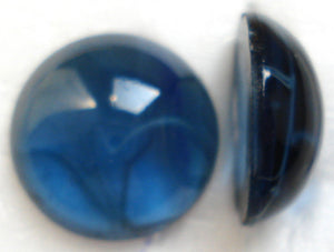 18MM GLASS FLAWED MONTANA ROUND CABOCHONS