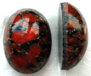 14X10MM (1685) RED MATRIX OVAL CABOCHONS