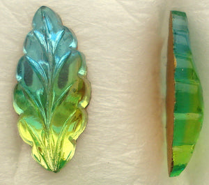 15X7MM FLAT BACK MARQ. LEAVES IN AQUA/PERIDOT