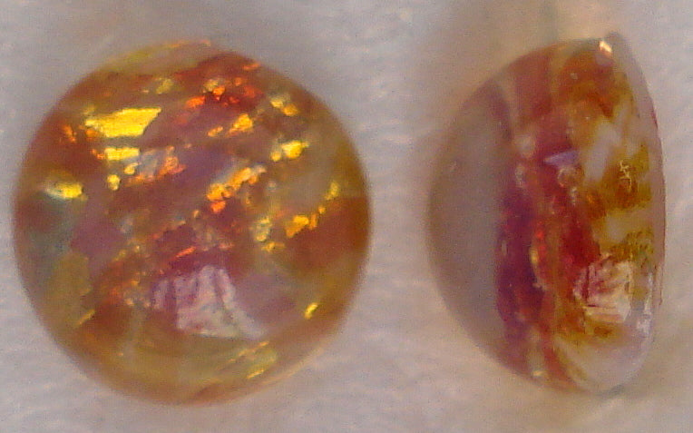 6MM (1684) GLASS FIRE OPAL CABOCHONS