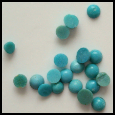 2-2.25mm Natural Turquoise Rd Cabochons
