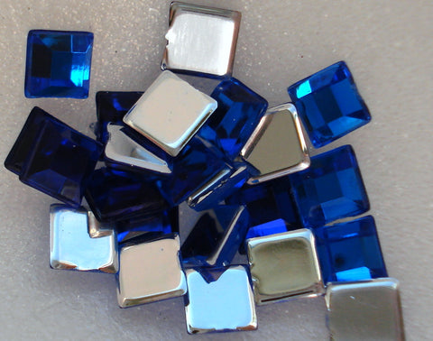 4MM SAPPHIRE ACRYLIC FLAT BACK SQUARES