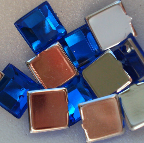 6MM SAPPHIRE ACRYLIC FLAT BACK SQUARES
