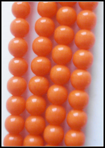 4MM TANGO CORAL (ACRYLIC) FULLY DRILLED BEADS
