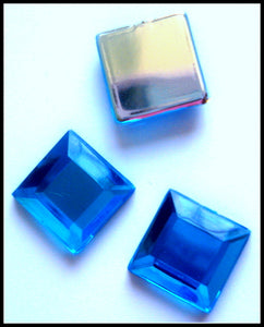 10MM OLD AQUA COLOR ROSE CUT ACRYLIC SQUARES