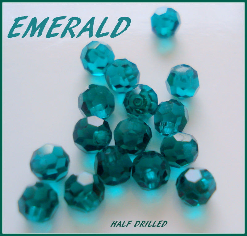 4MM (5080) 1/2 DRILLED EMERALD COLOR BEADS