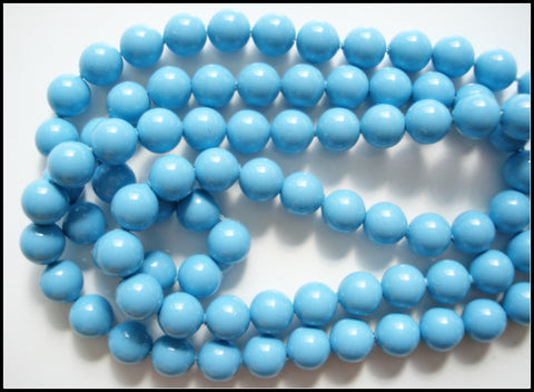 6MM GLASS TURQUOISE BLUE BEADS